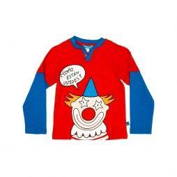 Super schönes Langarm-Shirt in Lagenoptik des spanischen Insider-Labels DOLÇA. Mit großen Print eines Clowns, der frech 'Wie geht es Ihnen?' in die Runde fragt auf der Vorderseite.