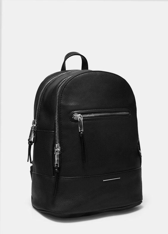 Rucksack mit reißverschlüssen in genarbter optik - Taschen für Damen | MANGO Deutschland