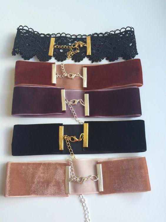 Velvet choker necklaces by FashioneditStudio on Etsy