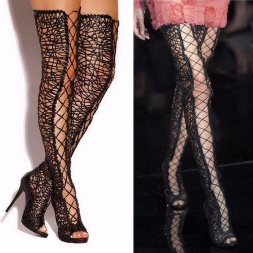 runway tom ford 2014 leather lattice thigh high