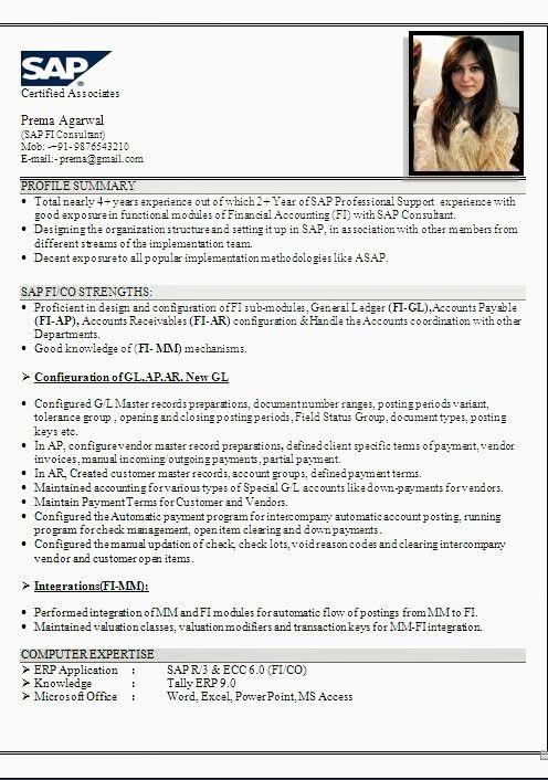 Resume Format For Tally Erp 9 Resume Format Resume Examples Resume Format Resume