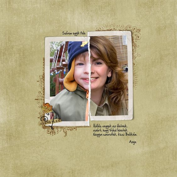 Tear 2 pictures in half and compare the same person as a child and as an adult. Great idea.: