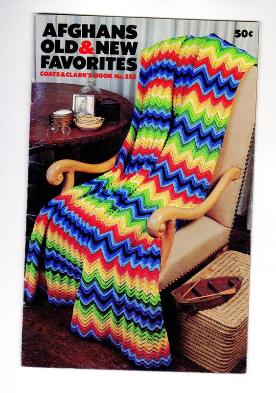 Knitting And Crochet Pattern Books : 70s Vintage Afghans Old & New Favorites (Coats and Clarks Book ...