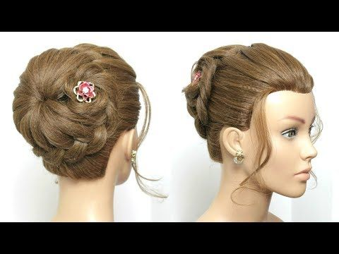 Flower Braided Bun Hairstyle Easy Updo Hair Tutorial Youtube Easy Hair Updos Braided Bun Hairstyles Braided Hairstyles Easy