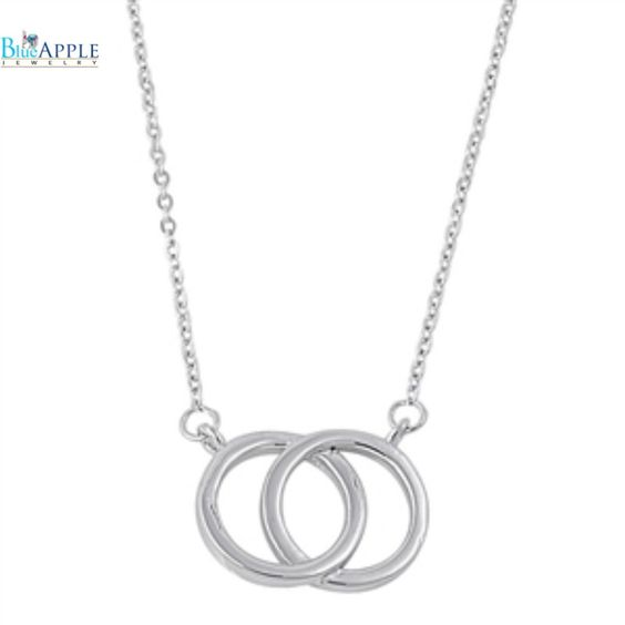 "Interlocking Double Circle O 16"" Necklace Pendant Solid 925 Sterling Silver Interlocking Circle Pendant Gift For Mother Wife Girl Friend"