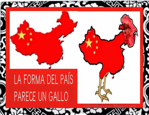 INFANTIL de GRACIA: CHINA MAPA, LOCALIZACIÓN Y BANDERA.CHINA TIENE FORMA DE GALLO.