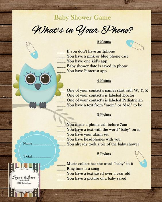 Baby Shower Games: What's In Your Phone Game, Baby Shower Game Printable