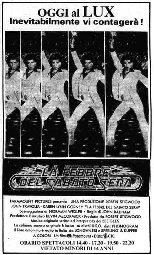 """La febbre del sabato sera"" (Saturday Night Fever, 1977) di John Badham, con John Travolta e Karen Lynn Gorney. Italian release: February 22, 1980 #MoviePosters #SaturdayNightFever #JohnTravolta"