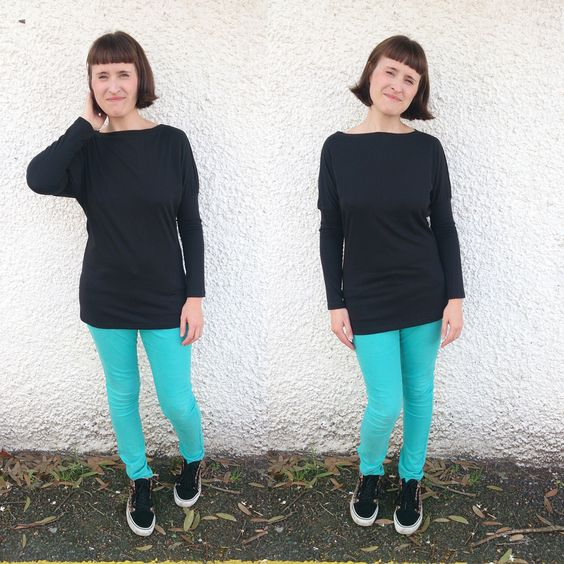 Solid black long sleeved tunic length version of Dolores Batwing Pattern by Zoe (So Zo):