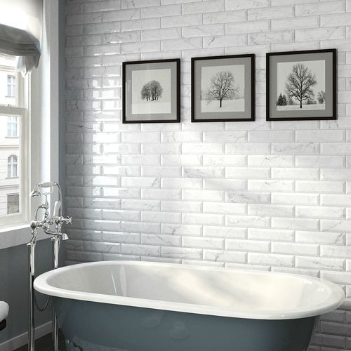 Studio M 3 X 10 Carrara Beveled Porcelain Wall Tile Glossy Finish 3 X 10 Subway Tile On Sale 5 29 Sq Ft Rustic Kitchen Design White Bathroom Accessories Wall Tiles