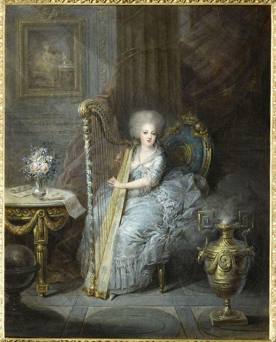 Madame Elisabeth jouant de la harpe |Madame Elisabeth 1783