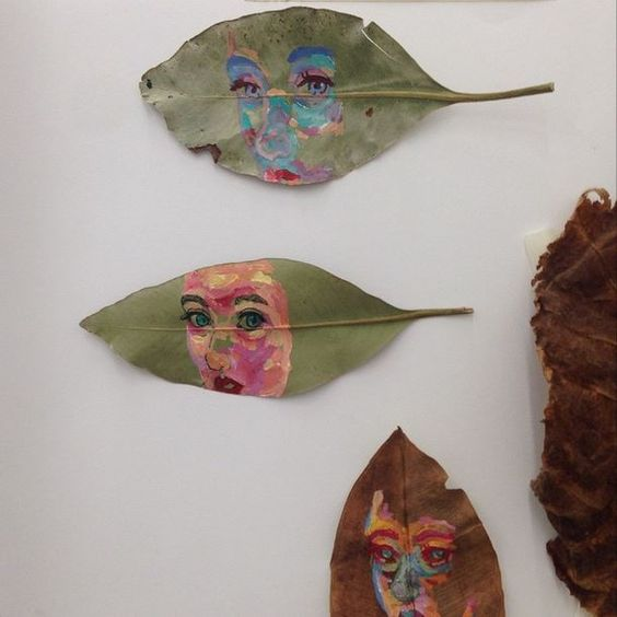 Inspiration #2 for 12/4: Another artist I've been appreciating is Hannah Lily Campbell, who uses re-purposed materials in a different way, with her self portraits on leaves. I can see art done on leaves being worked into a WORD layout. Someone could paint their art on leaves, or the title of the piece, or it could even be a photo story! It's a beautiful concept- maybe to be reserved for a fall issue. *Would pick the leaves from the ground, not from a live tree Alexandra Dwight
