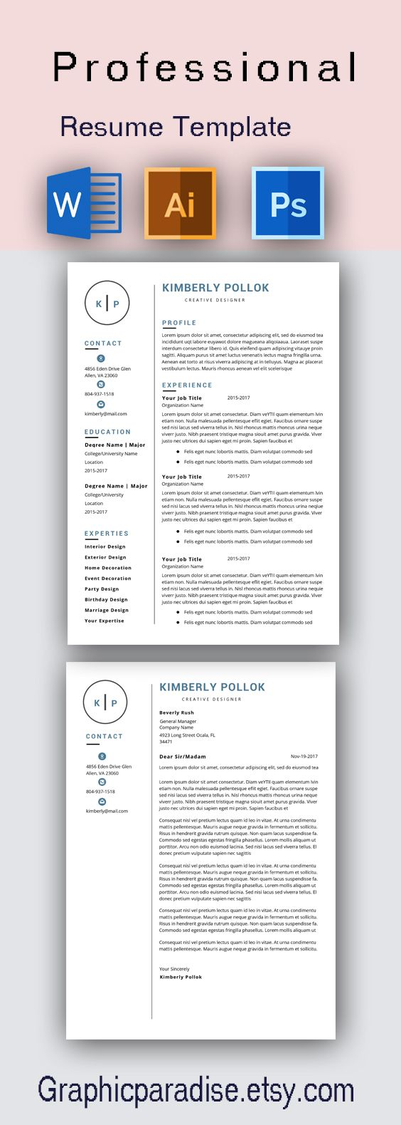 Resume Template Professional Resume Template Instant Etsy Resume Template Resume Template Professional Resume Template Word