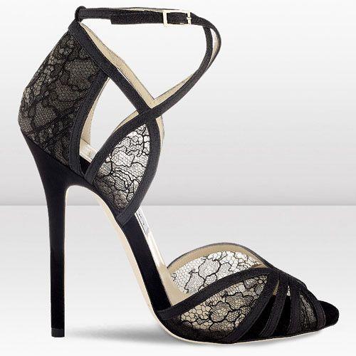 412f887e519e Jimmy Choo Fitch 120mm Black Fine Glitter and Lace Sandals