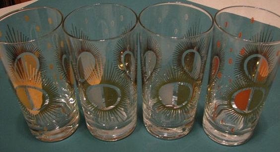 Fred Press Vintage MidCentury Glasses Set of 4 Sunburst Pattern