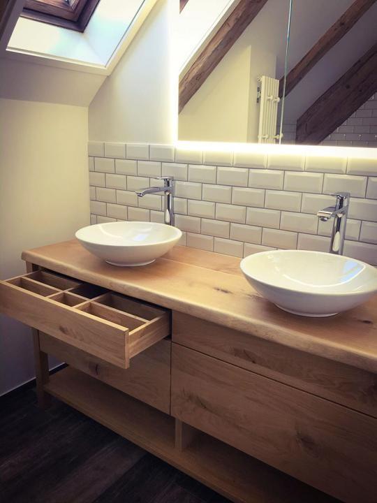 Waschtisch Aus Asteiche Mit Fussen Und Ablagebrett Waschtisch Landhaus Badezimmer Unterschrank Holz Stil Badezimmer
