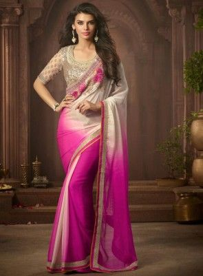 #Pink and #OffWhite Chiffon Georgette #Saree Features georgette and chiffon saree with matching blouse.