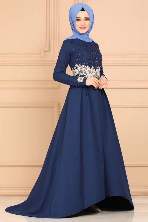 Modaselvim Abiye Gupur Ve Tasli Kuyruklu Abiye 5159ay342 Indigo Elbise The Dress Moda Stilleri
