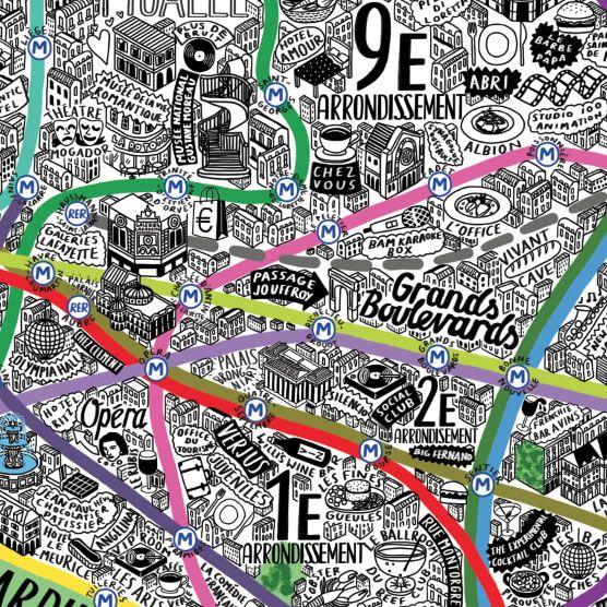 Hand Drawn Map Of Paris Art Print | Art Prints & T-shirts from Evermade