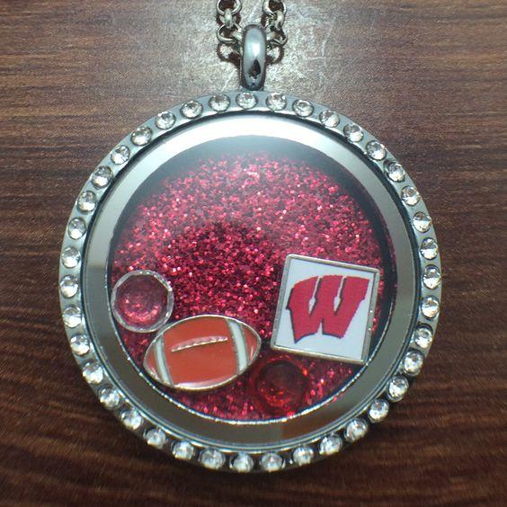 University of Wisconsin Football Floating Charm Locket $27.99