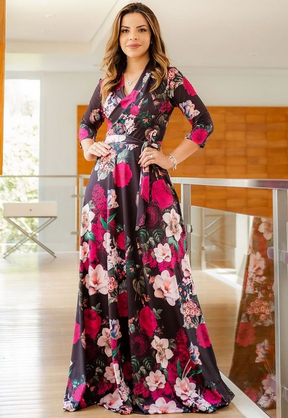 Vestido Floral Transpassado - Moda Evangélica - Flor de Amêndoa