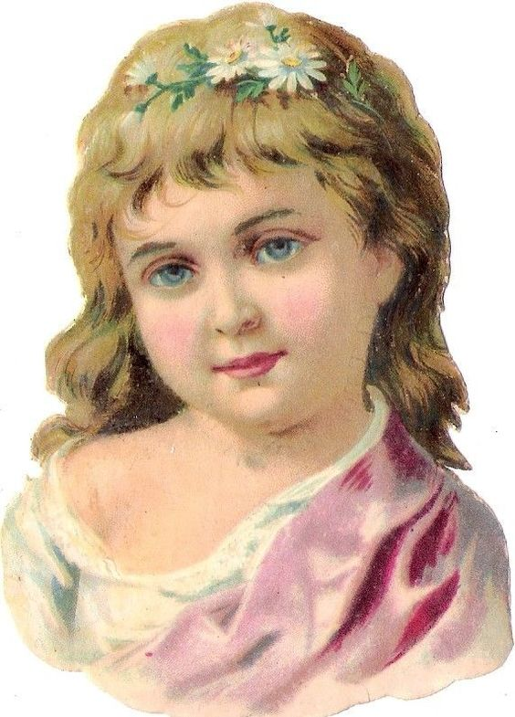Oblaten Glanzbild scrap die cut chromo Kind 10,2cm child girl lady marguerites: