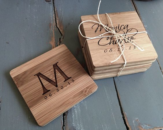 Initials & Name on Wooden Coasters