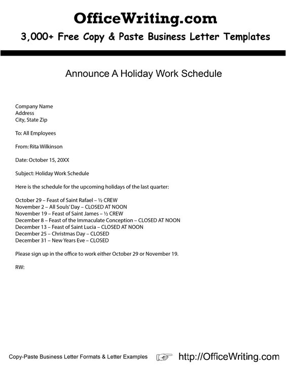 Announce A Holiday Work Schedule -- We have over 3,000 free sample - announcement letter sample format