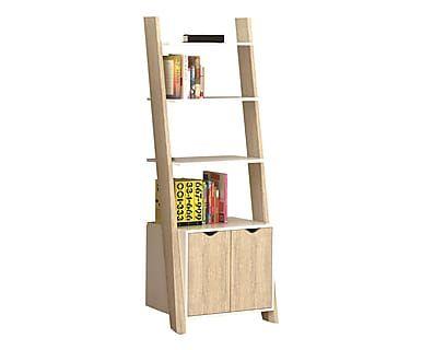 Libreria 4 ripiani e 2 ante in legno laccato Nature bianco/rovere, 65x176x45 cm