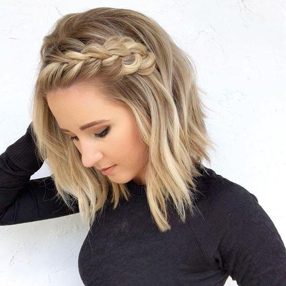Dutch crown braid short hairstyle