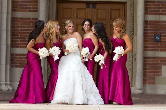 Lazaro bridesmaids dresses style 3132  in Raspberry Silky Taffeta