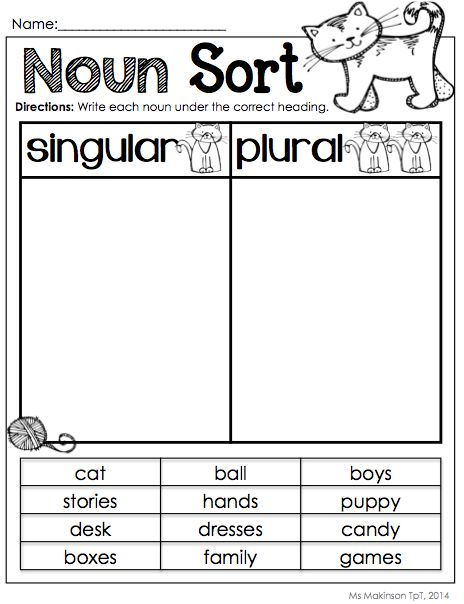 math worksheet : nouns : Singular And Plural Nouns Worksheets For Kindergarten