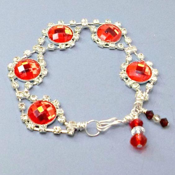Bracelet handmade huge red stones rhinestone links size 7 1/4 #Pat2 #link