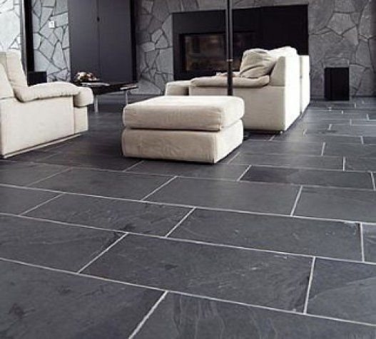 Slate flooring love the huge slate tiles with flagstone on the walls but - Carrelage imitation pierre mural ...
