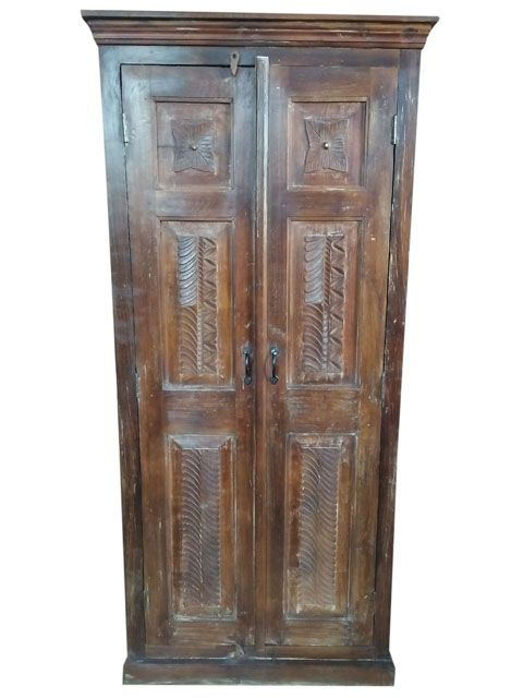 The Vintage Solid Wood Distress Hand Caved Armoire With Shelves Is