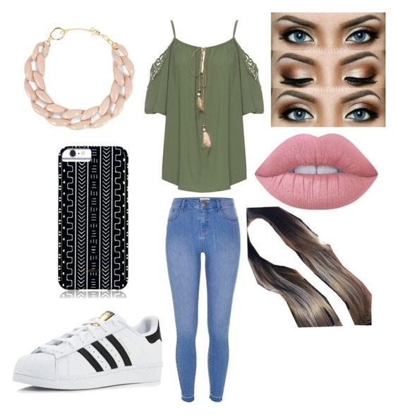 """""""Untitled #795"""" by glamor234 on Polyvore featuring WearAll, River Island, adidas, Savannah Hayes, DIANA BROUSSARD and Lime Crime"""