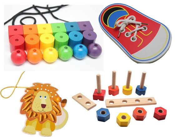 Fine Motor Toys : Lacing shoes toys for toddlers and occupational therapy