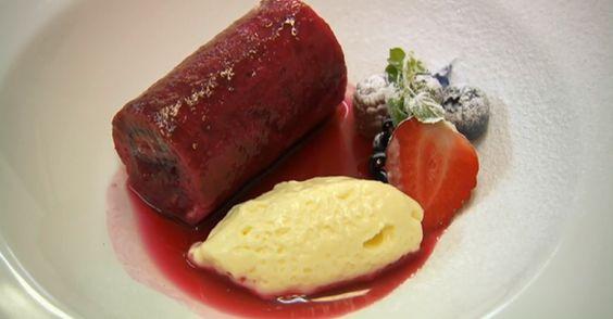 Nigel Haworth's summer fruit pudding with lemon cream dessert on Celebrity MasterChef UK