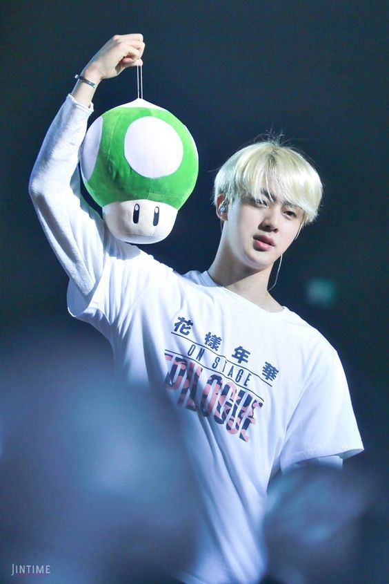 """idols with plushies on Twitter: """"jin 