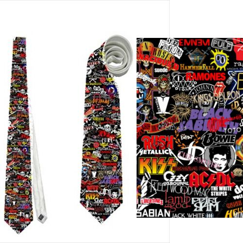 Necktie Rock Heavy Punk Metal Bands Kiss Ac Dc Ozzy Ramones Guns