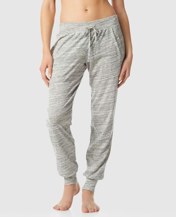 Our soft jogger pant from La Senza is the perfect lounge pant. Featuring drawstring waistband, pockets, & heathered material. Shop La Senza Lingerie.