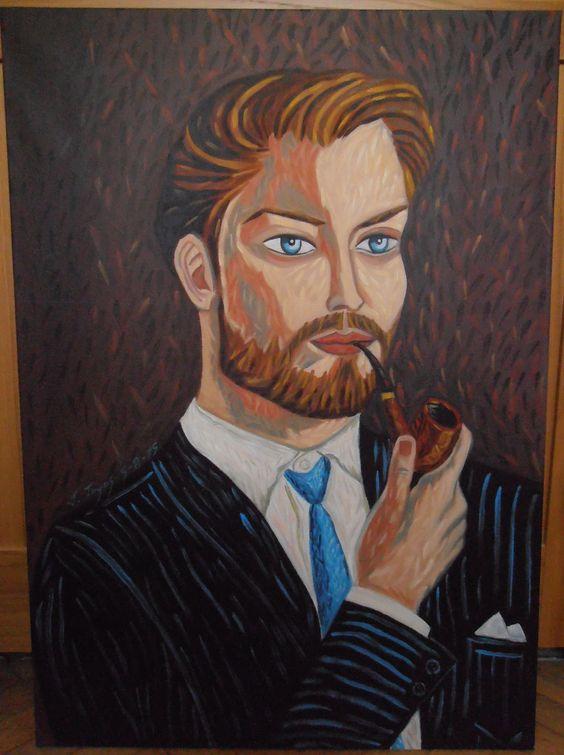 """""""HOMBRE CON PIPA"""" Óleo sobre lienzo Tamaño 50x70 cm. Precio 300 Euros."""