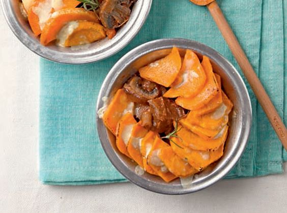 Flavorful and hearty, this casserole features tasty beef stew topped with creamy, cheesy sweet potato slices.