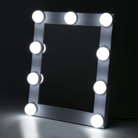 Portable Touch Screen 9 Leds Bulb Lighted Tabletop Beauty Makeup Bath Mirror White Bulb Mirror Hollywood Makeup Mirror Makeup Mirror With Lights
