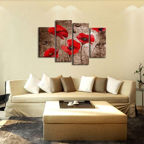 Quadri con fiori rossi dipinti a mano olio su tela con for Quadri fiori olio