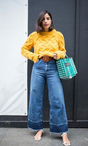 Look Suéter Amarelo + Pantacourt
