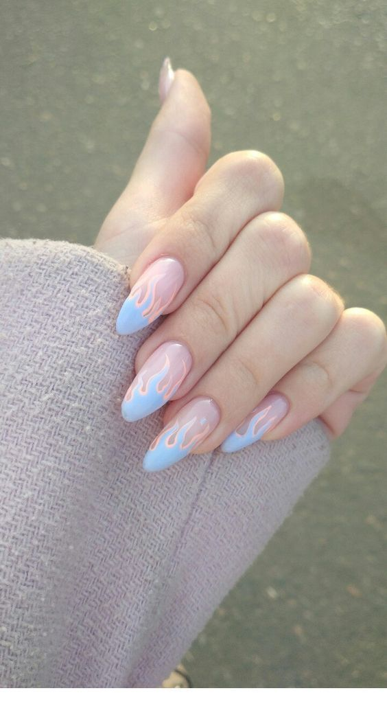 Blue Flame Miladies Net Fire Nails Pretty Acrylic Nails Pastel Nails