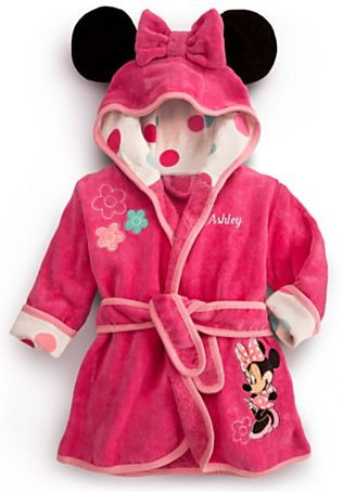 Gifts for the New Baby Girl:  Personalizable Minnie Mouse Bath Robe for Baby @ Disney Store