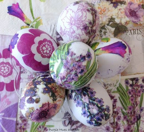 Decoupage eggs using napkins