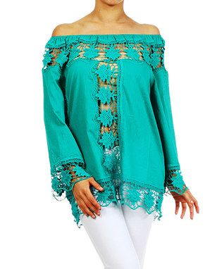 Teal Crochet-Panel Off-Shoulder Tunic